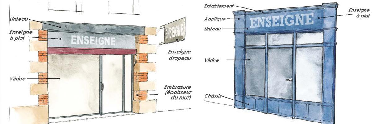 Dessins de façades commerciales