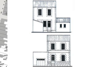 Plan et façades d'Hortense, remis aux élèves pour concevoir leur projet