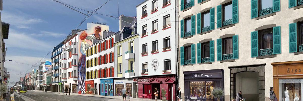 Proposition de mise en couleur du Haut de Jaurès à Brest par l'atelier Chroma de Anne Petit