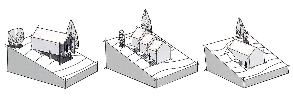 Illustration de constructions sur un terrain en pente