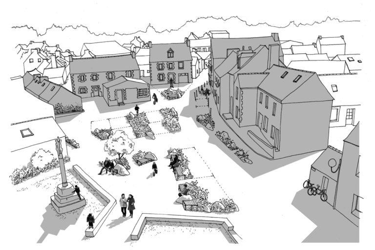 Croquis des aménagements de Cloitre-Saint-Thégonnec par l'atelier Bivouac