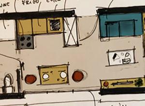 plan d'un studio, croquis de Delphine Page